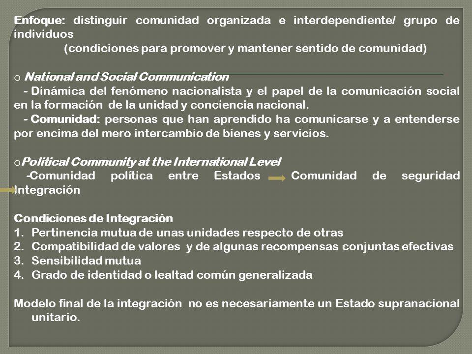 Enfoque: distinguir comunidad organizada e interdependiente/ grupo de individuos