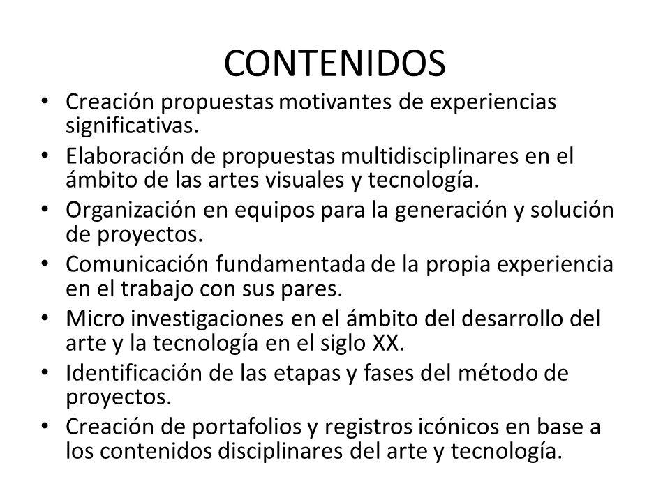 CONTENIDOS Creación propuestas motivantes de experiencias significativas.