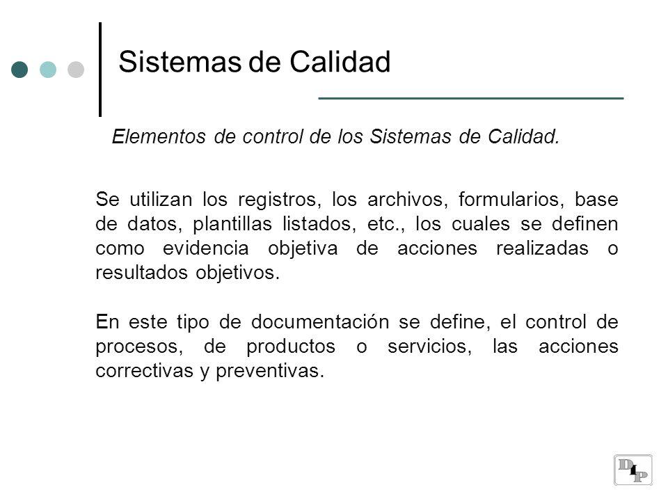 Sistemas de Calidad Elementos de control de los Sistemas de Calidad.