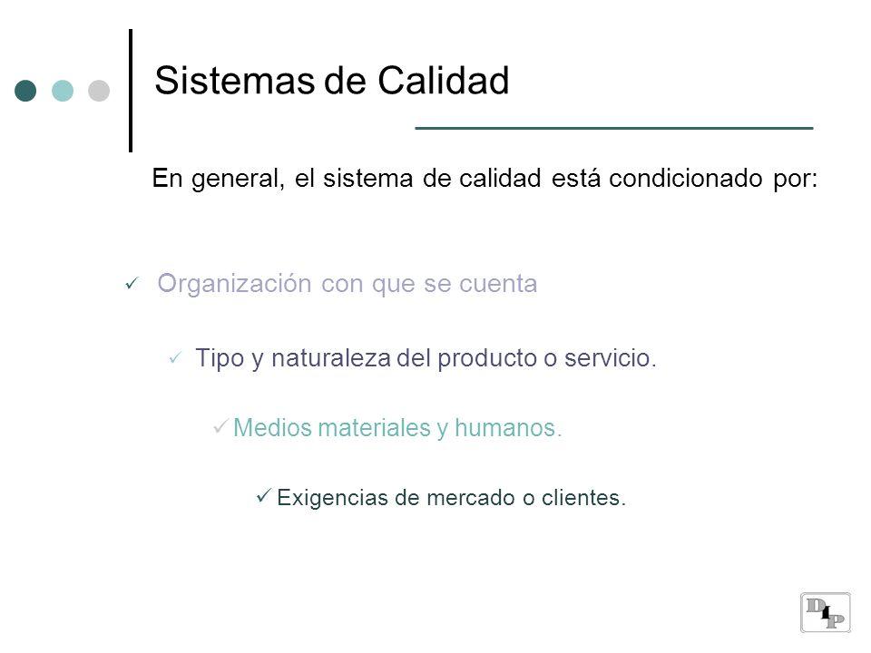 Sistemas de Calidad En general, el sistema de calidad está condicionado por: Organización con que se cuenta.