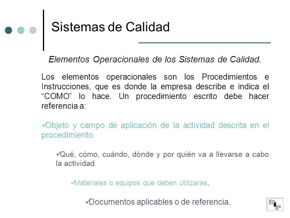 Sistemas de Calidad Elementos Operacionales de los Sistemas de Calidad.