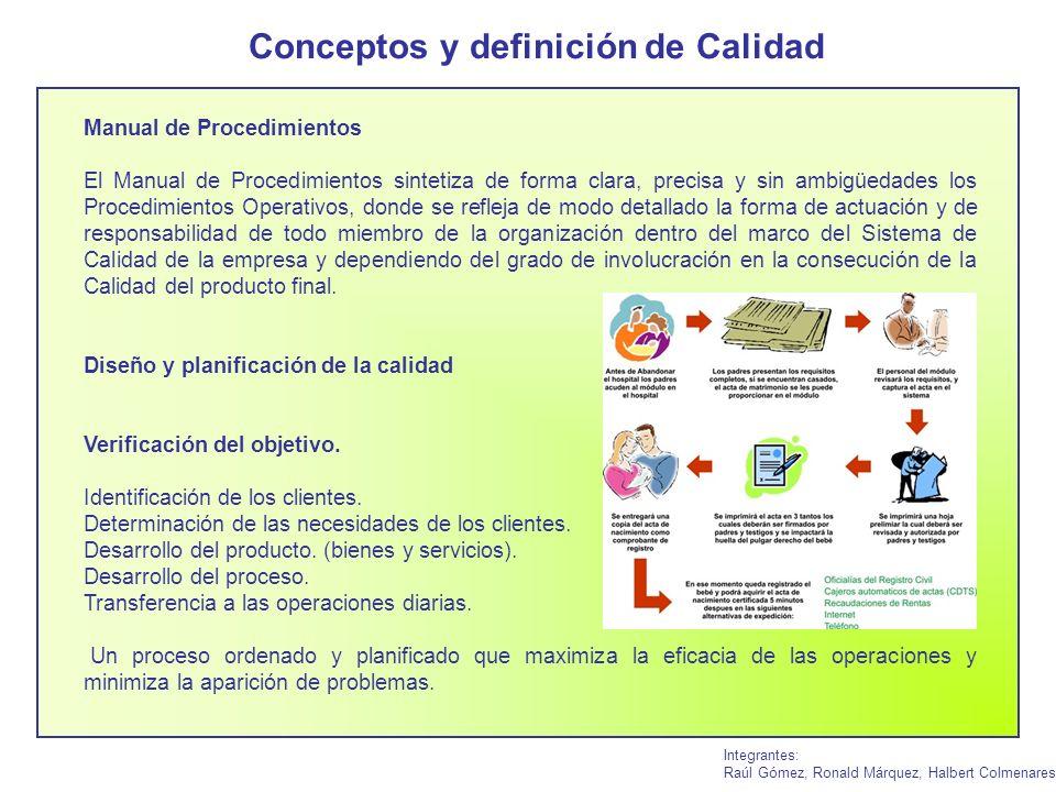 Conceptos y definición de Calidad