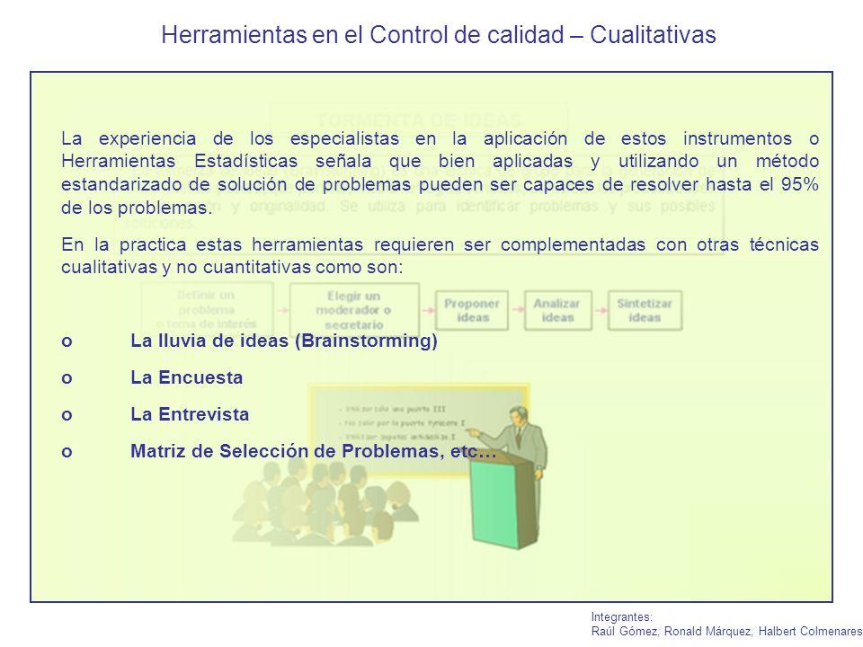 Herramientas en el Control de calidad – Cualitativas