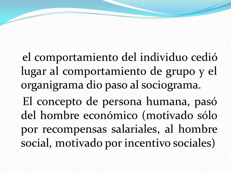 el comportamiento del individuo cedió lugar al comportamiento de grupo y el organigrama dio paso al sociograma.