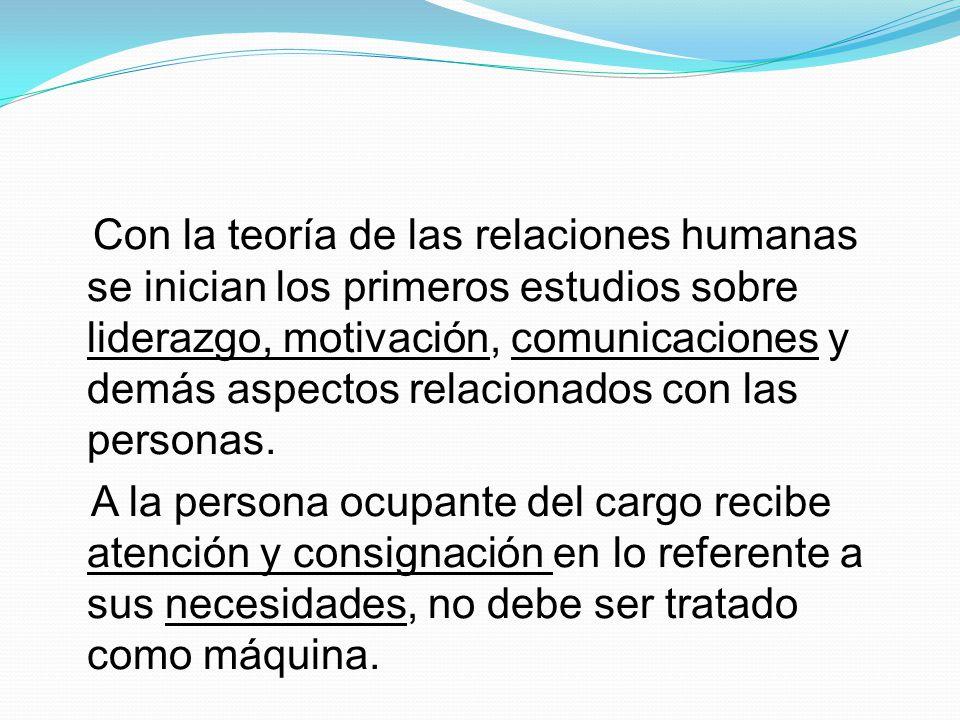 Con la teoría de las relaciones humanas se inician los primeros estudios sobre liderazgo, motivación, comunicaciones y demás aspectos relacionados con las personas.
