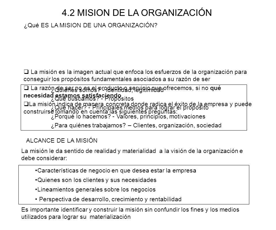 4.2 MISION DE LA ORGANIZACIÓN