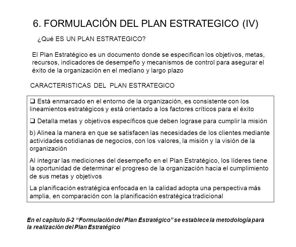 6. FORMULACIÓN DEL PLAN ESTRATEGICO (IV)