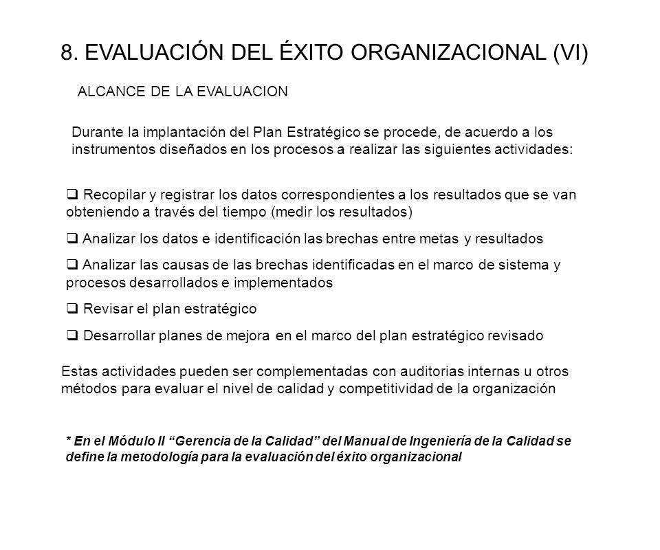8. EVALUACIÓN DEL ÉXITO ORGANIZACIONAL (VI)