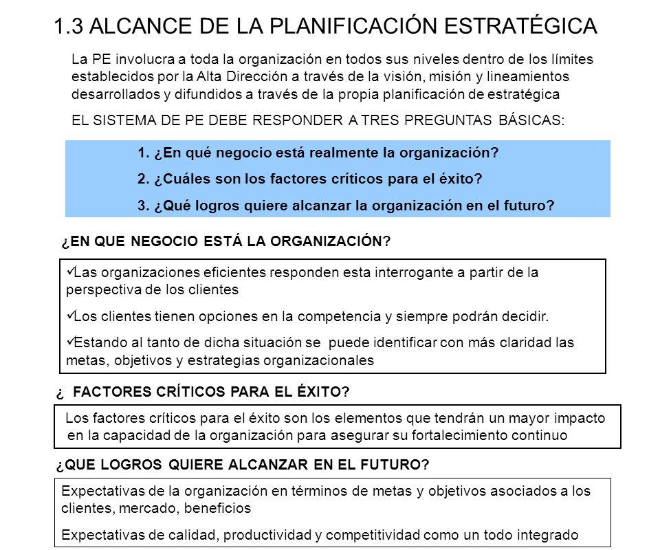 1.3 ALCANCE DE LA PLANIFICACIÓN ESTRATÉGICA