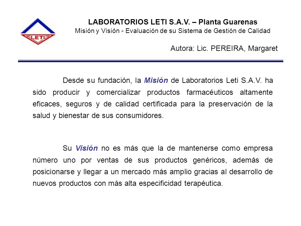 LABORATORIOS LETI S.A.V. – Planta Guarenas