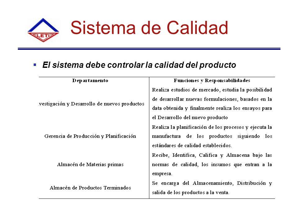 Sistema de Calidad El sistema debe controlar la calidad del producto
