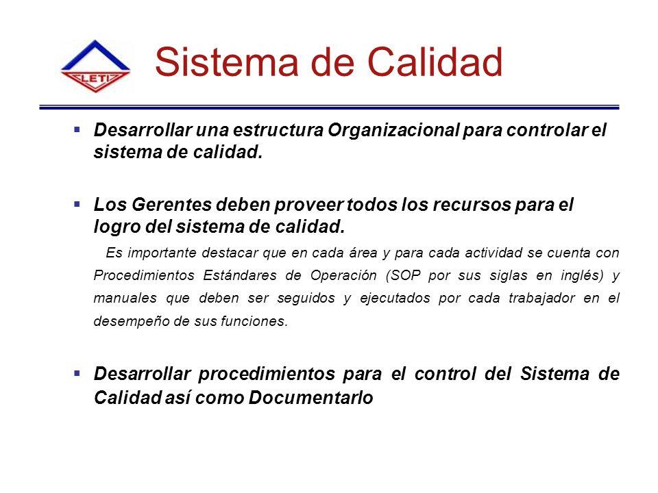 Sistema de Calidad Desarrollar una estructura Organizacional para controlar el sistema de calidad.