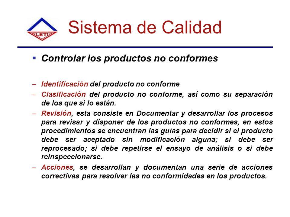 Sistema de Calidad Controlar los productos no conformes