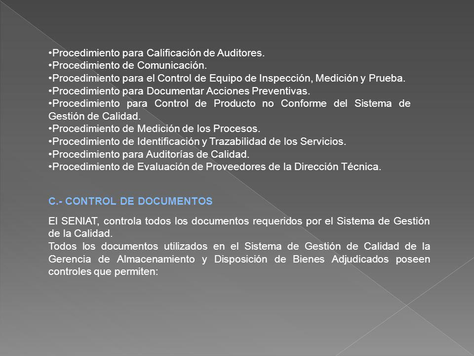 Procedimiento para Calificación de Auditores.