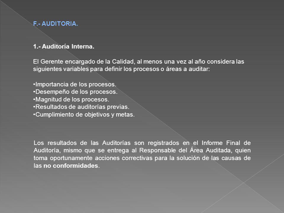 F.- AUDITORIA. 1.- Auditoría Interna.