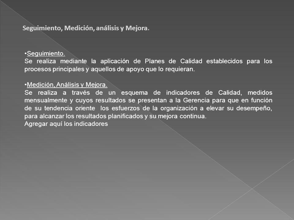 Seguimiento, Medición, análisis y Mejora.