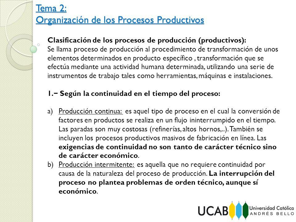 Clasificación de los procesos de producción (productivos):