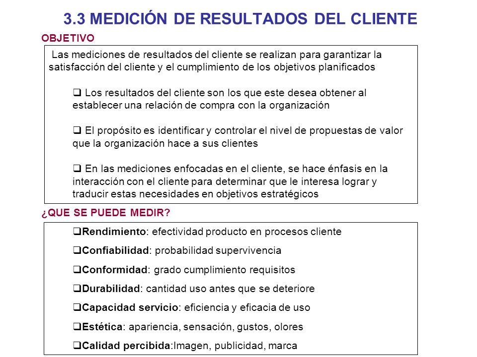 3.3 MEDICIÓN DE RESULTADOS DEL CLIENTE