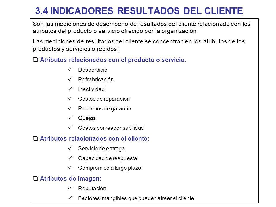 3.4 INDICADORES RESULTADOS DEL CLIENTE