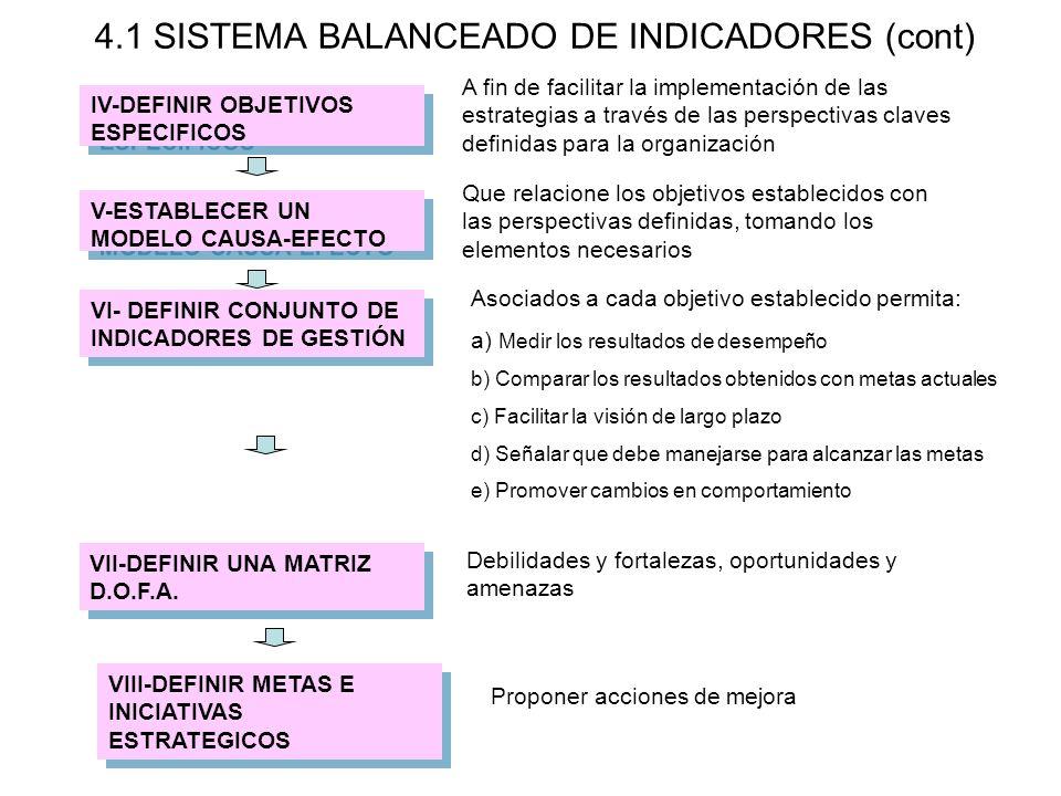 4.1 SISTEMA BALANCEADO DE INDICADORES (cont)