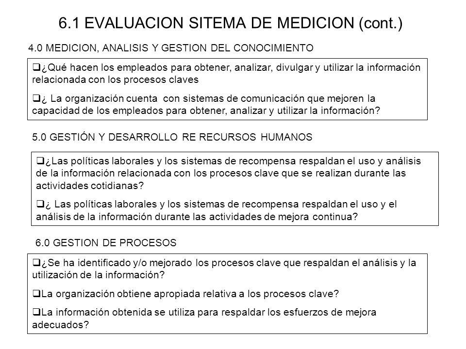 6.1 EVALUACION SITEMA DE MEDICION (cont.)