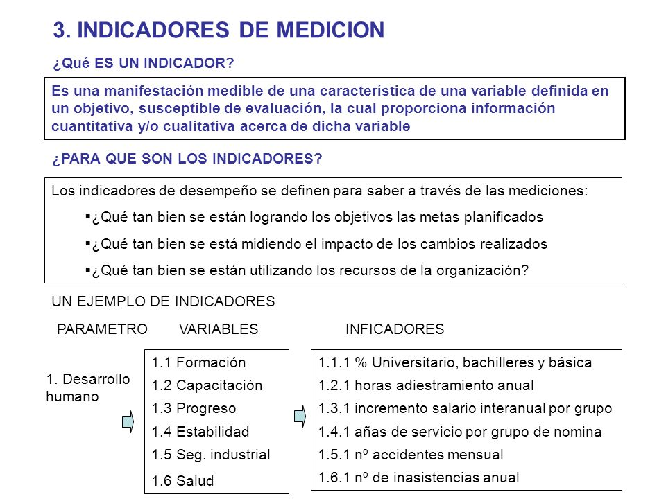 3. INDICADORES DE MEDICION