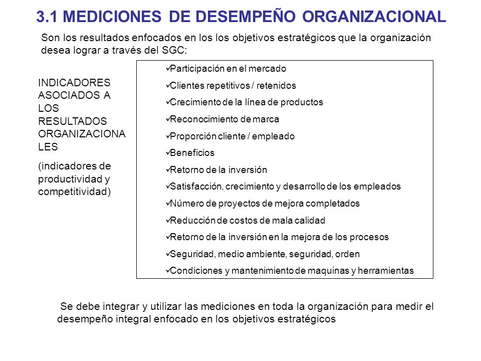 3.1 MEDICIONES DE DESEMPEÑO ORGANIZACIONAL