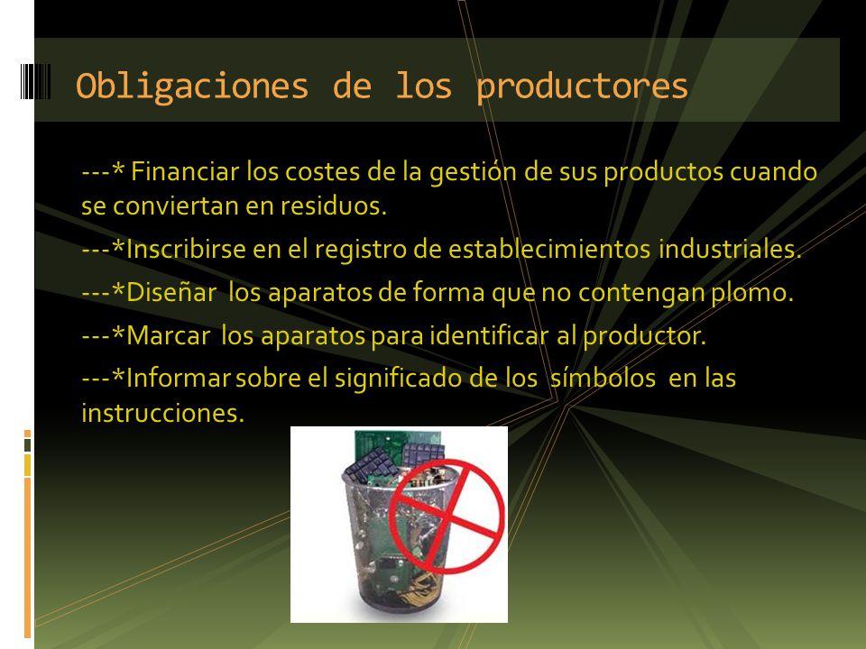Obligaciones de los productores