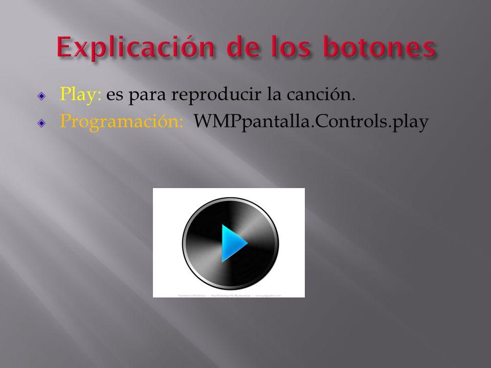 Explicación de los botones