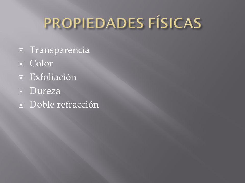 PROPIEDADES FÍSICAS Transparencia Color Exfoliación Dureza
