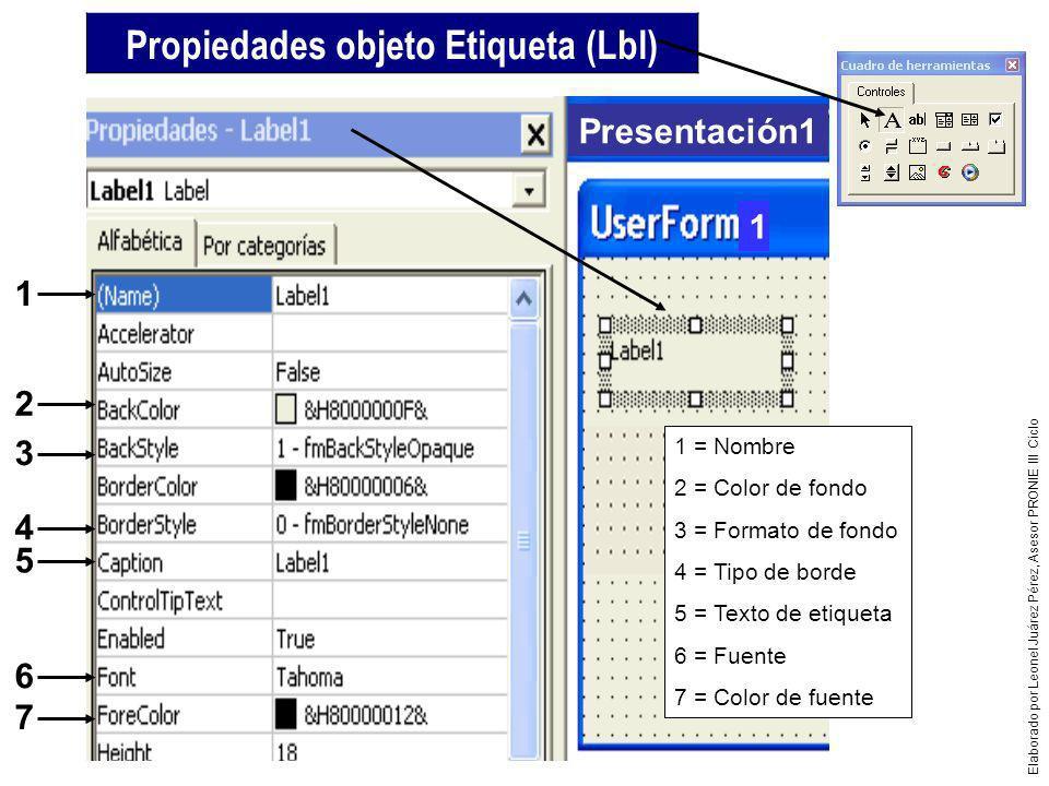 Propiedades objeto Etiqueta (Lbl)