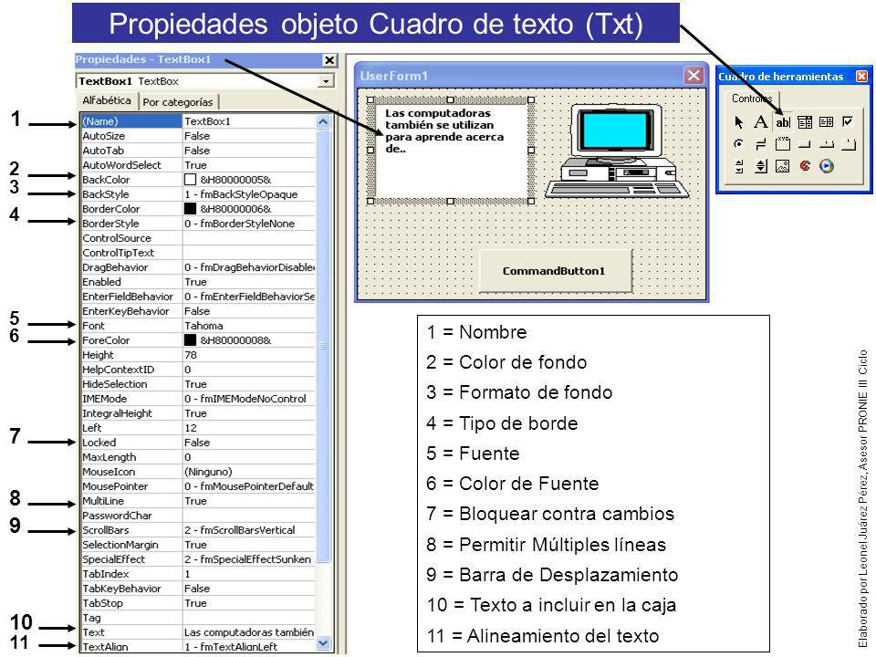 Propiedades objeto Cuadro de texto (Txt)