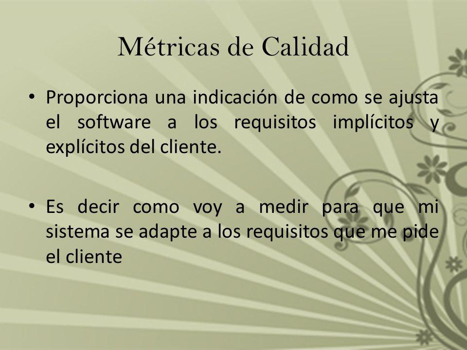Métricas de Calidad Proporciona una indicación de como se ajusta el software a los requisitos implícitos y explícitos del cliente.
