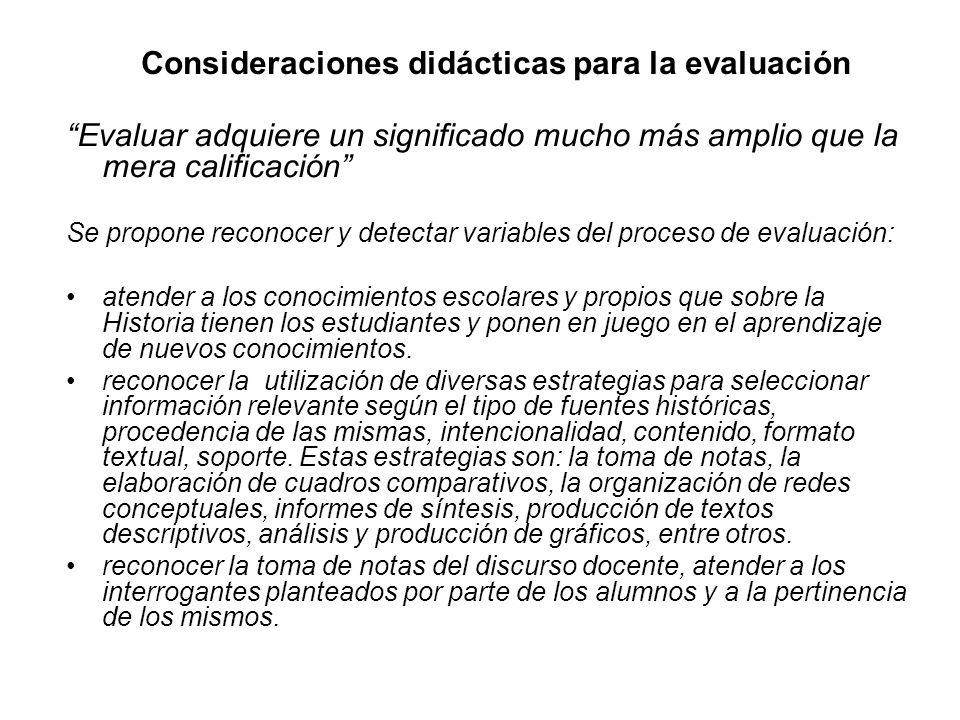 Consideraciones didácticas para la evaluación