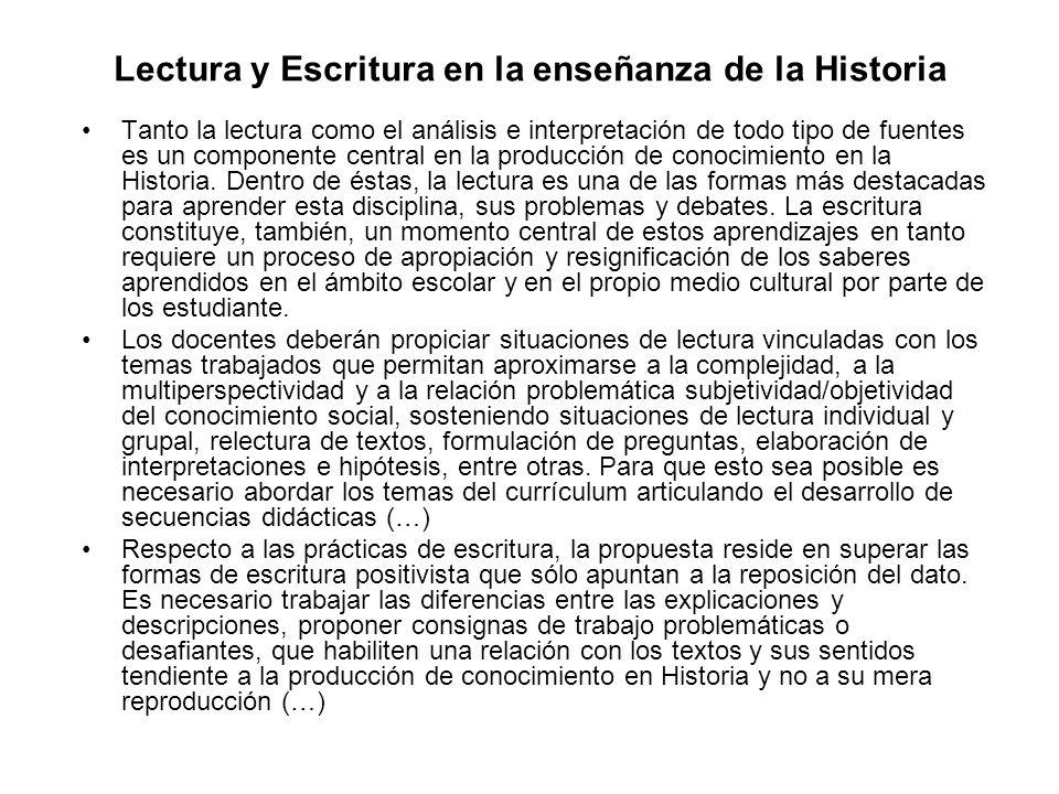Lectura y Escritura en la enseñanza de la Historia