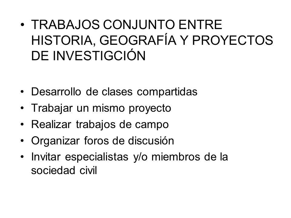 TRABAJOS CONJUNTO ENTRE HISTORIA, GEOGRAFÍA Y PROYECTOS DE INVESTIGCIÓN