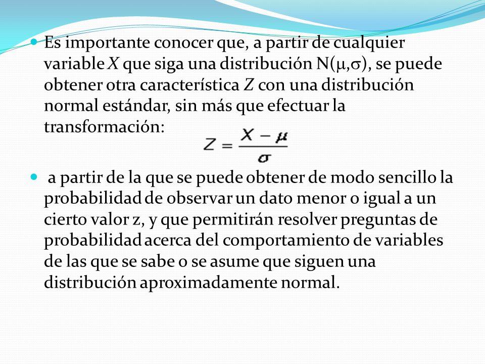 Es importante conocer que, a partir de cualquier variable X que siga una distribución N(,), se puede obtener otra característica Z con una distribución normal estándar, sin más que efectuar la transformación: