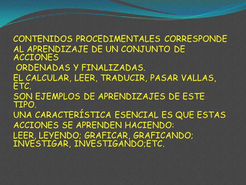 CONTENIDOS PROCEDIMENTALES CORRESPONDE