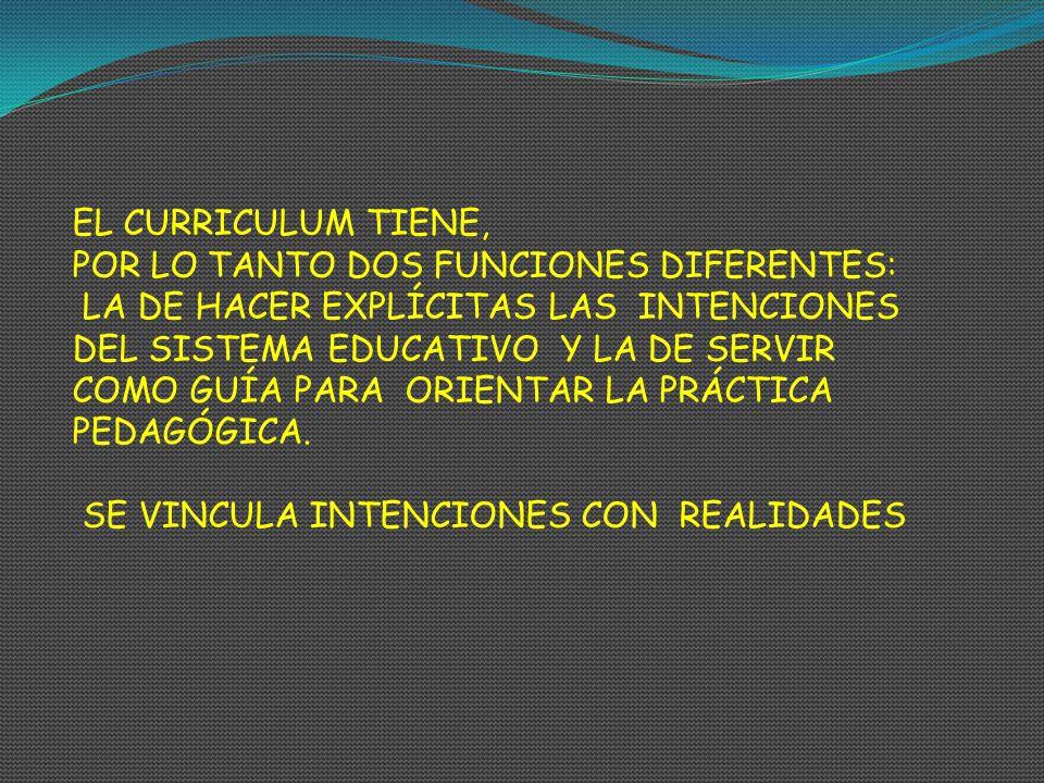 EL CURRICULUM TIENE, POR LO TANTO DOS FUNCIONES DIFERENTES: