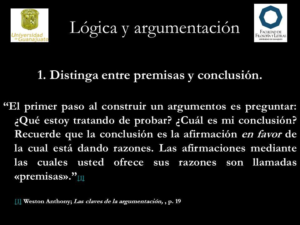 1. Distinga entre premisas y conclusión.