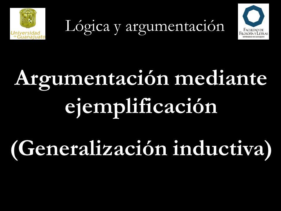 Argumentación mediante ejemplificación (Generalización inductiva)