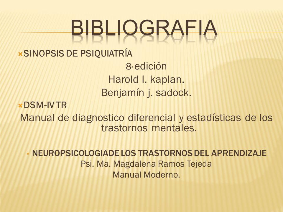 BIBLIOGRAFIA Harold I. kaplan. Benjamín j. sadock.