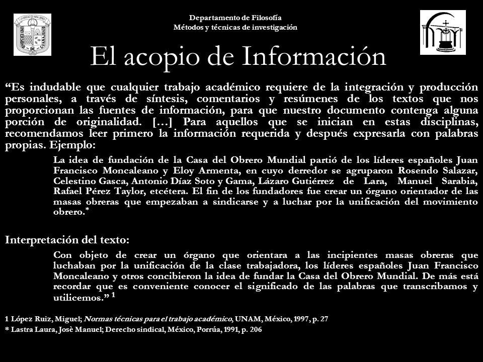 El acopio de Información