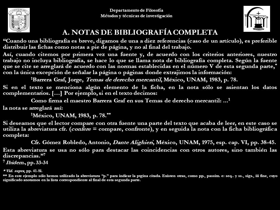 A. NOTAS DE BIBLIOGRAFÍA COMPLETA