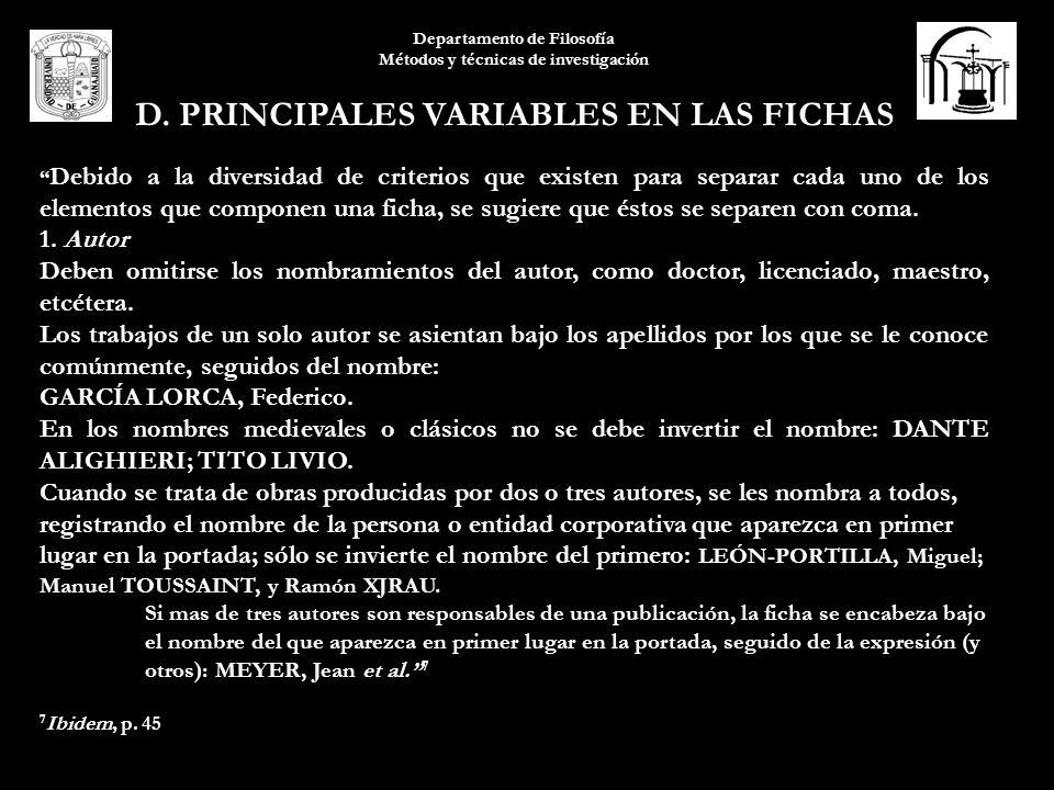 D. PRINCIPALES VARIABLES EN LAS FICHAS