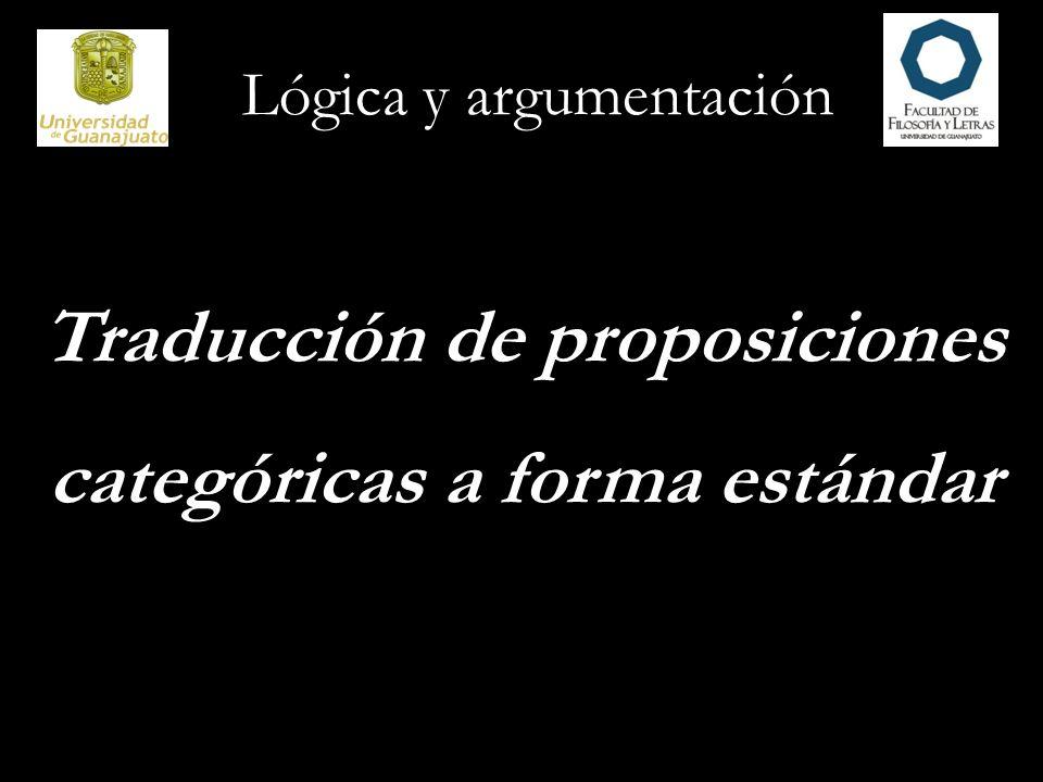 Traducción de proposiciones categóricas a forma estándar