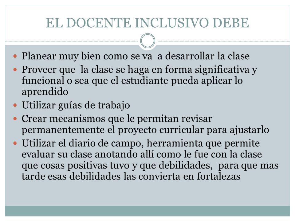 EL DOCENTE INCLUSIVO DEBE