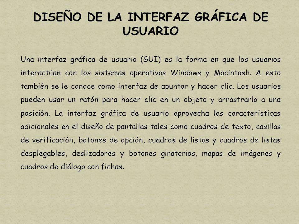 DISEÑO DE LA INTERFAZ GRÁFICA DE USUARIO