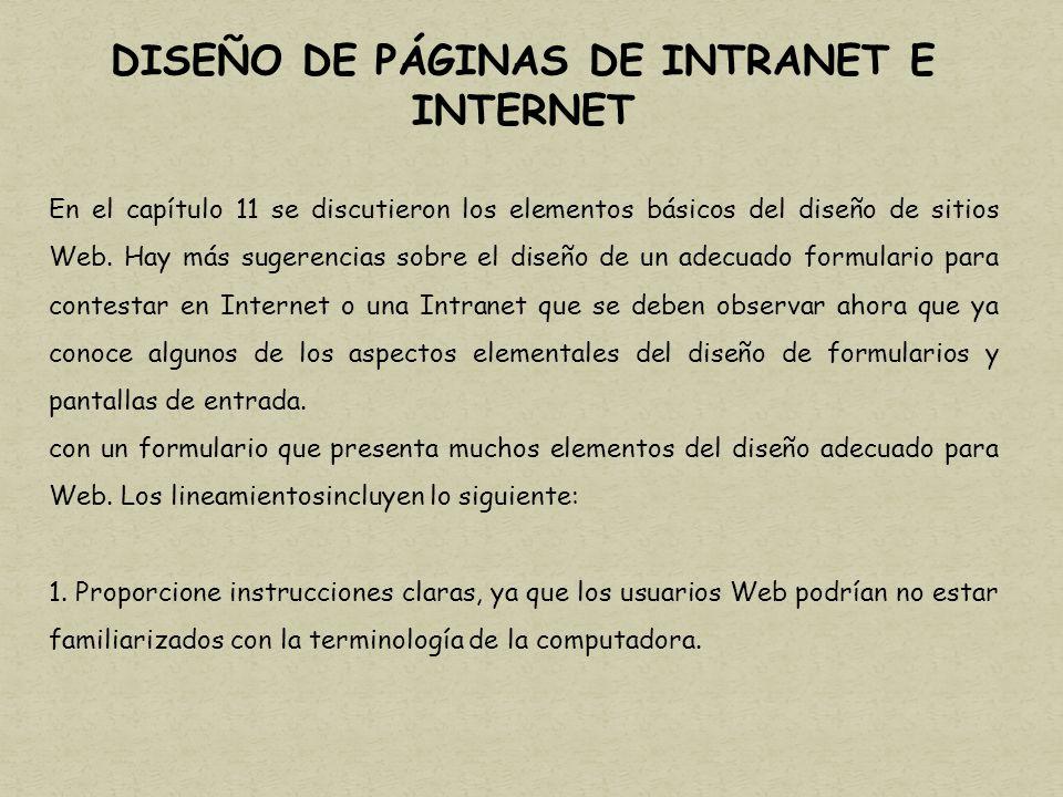 DISEÑO DE PÁGINAS DE INTRANET E INTERNET