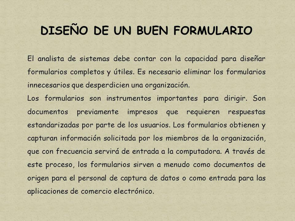 DISEÑO DE UN BUEN FORMULARIO